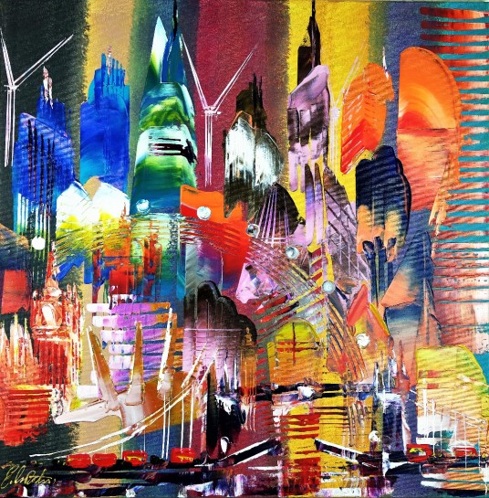 City of London Skyline Abstract Painting 795