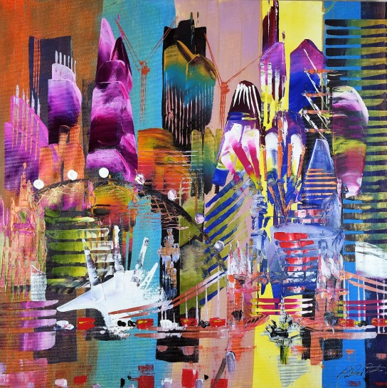 City of London Skyline Abstract Painting 830