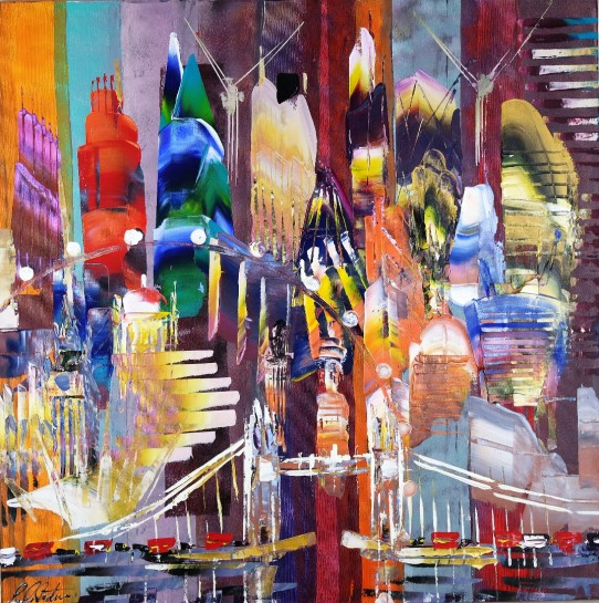 City of London Skyline Abstract Painting 800