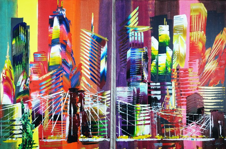 New York City 2 piece Abstract 917