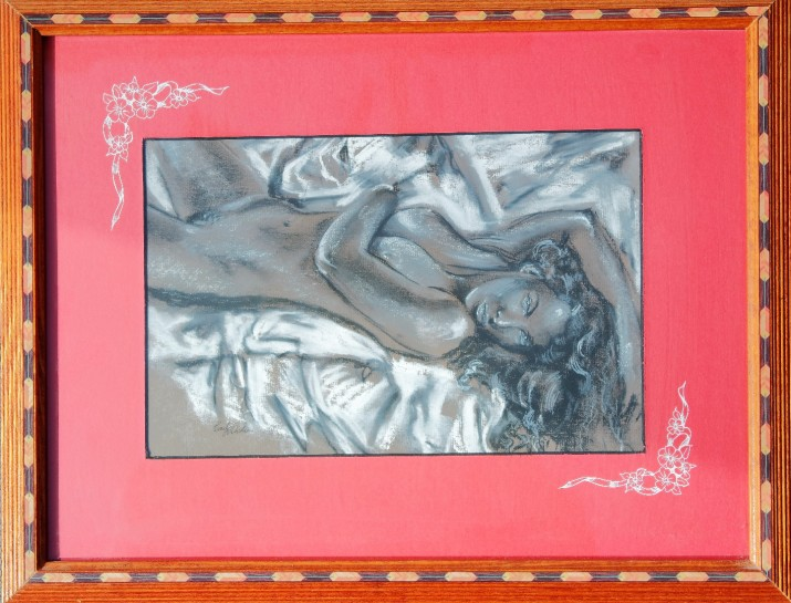 Nude drawing framed