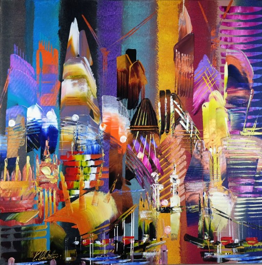 City of London Skyline Abstract Painting 815