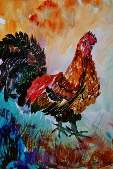 Rooster Watercolour