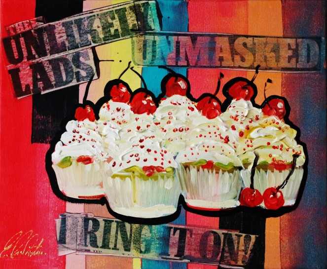Seven samuri cupcakes with cherry tops 0501