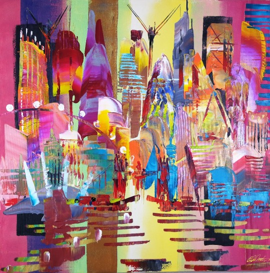 City of London Skyline Abstract Painting 805