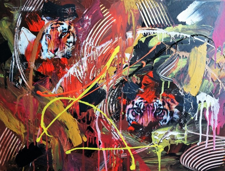 Pop-Art Abstract Endangered Tiger 102