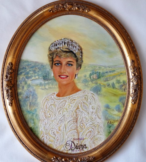 PRINCESS DIANA COMMEMORATIVE PORTRAIT PAINTING - ERACLIS ARISTIDOU