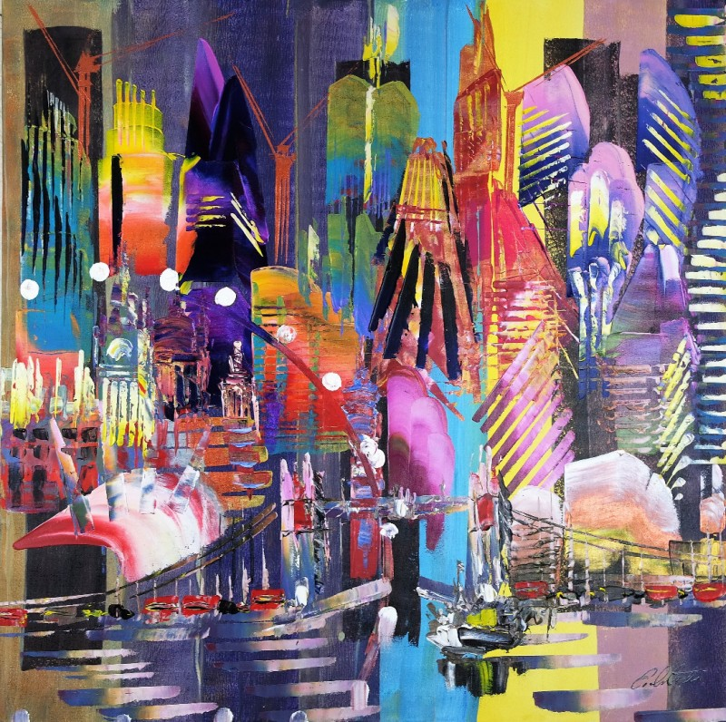 City of London Skyline Abstract Painting 825
