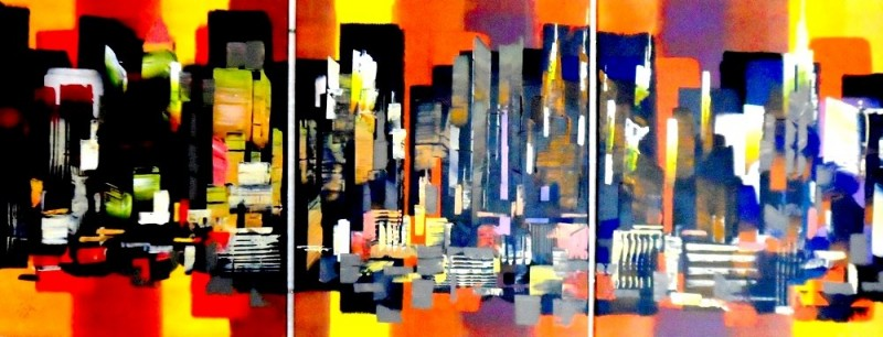 Manhattan New York Abstract 60x24_367