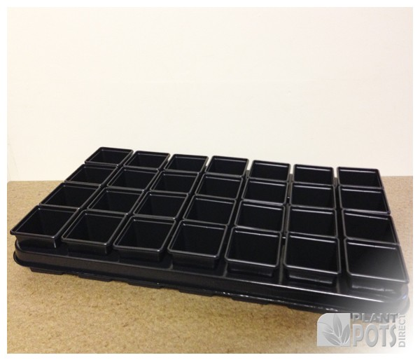 Carry Tray with 28x 7cm Square plastic plant pot (2.75 inch square)