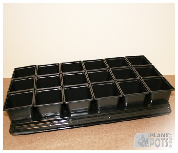 Carry tray with 18x 9cm Square plastic plant pot (3.5 inch square)