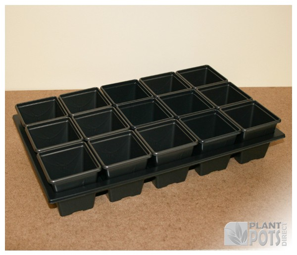 Carry Tray with 15x 7cm Square plastic plant pot (2.75 inch square)