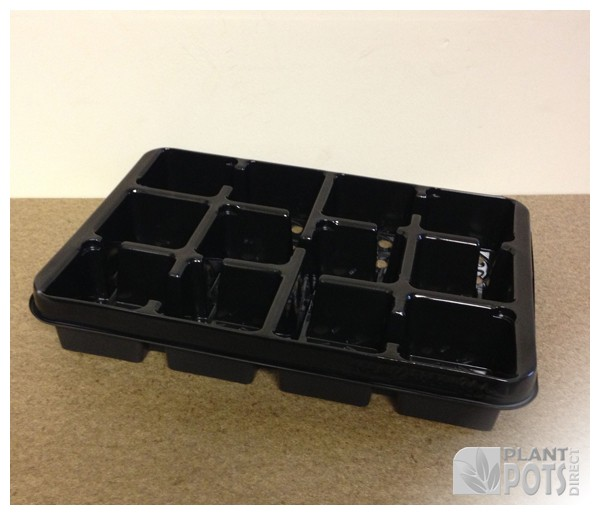 9cm Square plant pot plastic carry tray - holds 12