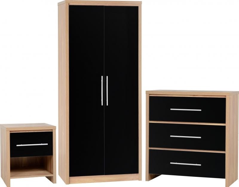 seville bedroom set in light oak veneer black high gloss portsmouth furniture centre. Black Bedroom Furniture Sets. Home Design Ideas