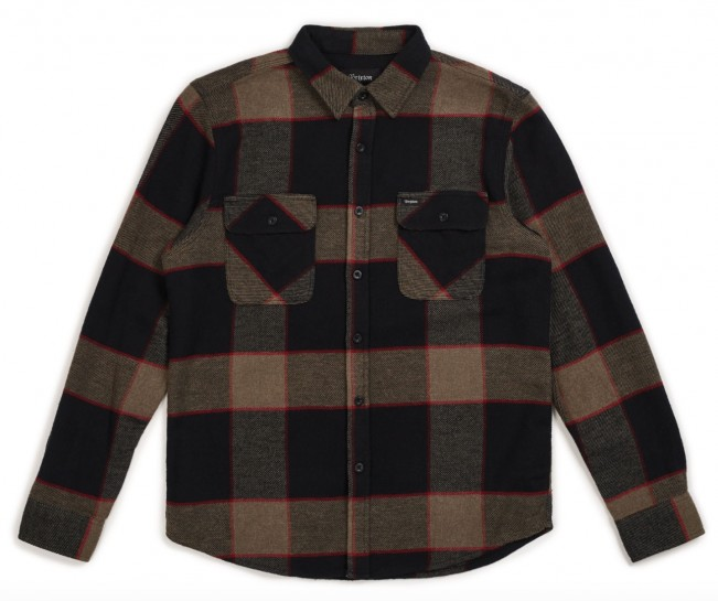 BRIXTON - BOWERY FLANNEL - HEATHER GREY/CHARCOAL