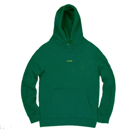 JUNE STORE - CLASSIC TEXT HOOD - GREEN / YELLOW