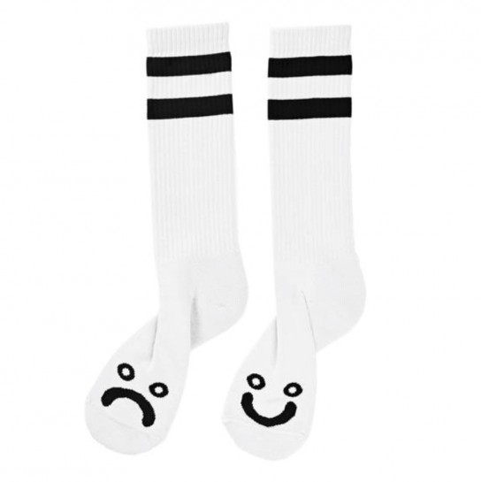 POLAR SKATE CO -  Happy Sad Socks (White)
