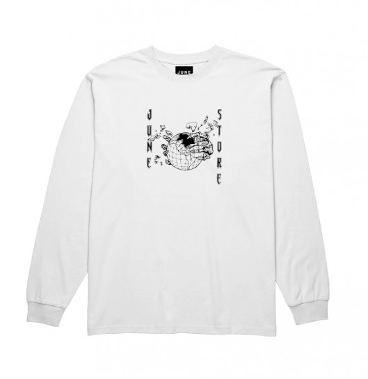 JUNE STORE - HOLLOW EARTH L S TEE - WHITE / BLACK