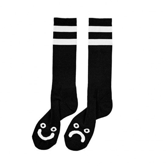 POLAR SKATE CO - HAPPY SAD SOCKS - BLACK