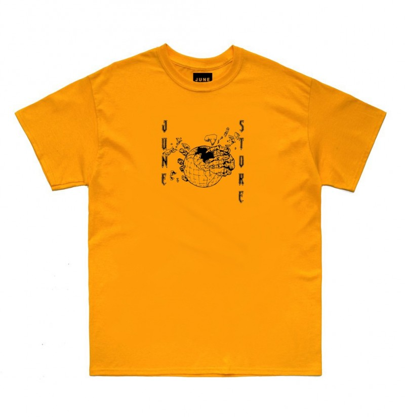 JUNE STORE - HOLLOW EARTH TEE - BLACK / YELLOW