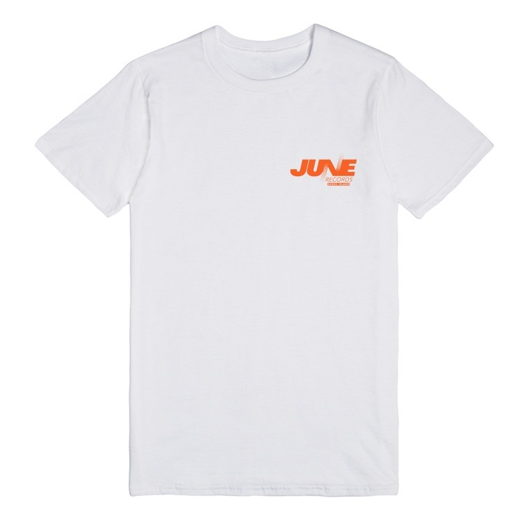 JUNE - RECORDS TEE - WHITE / BURNT ORANGE - front