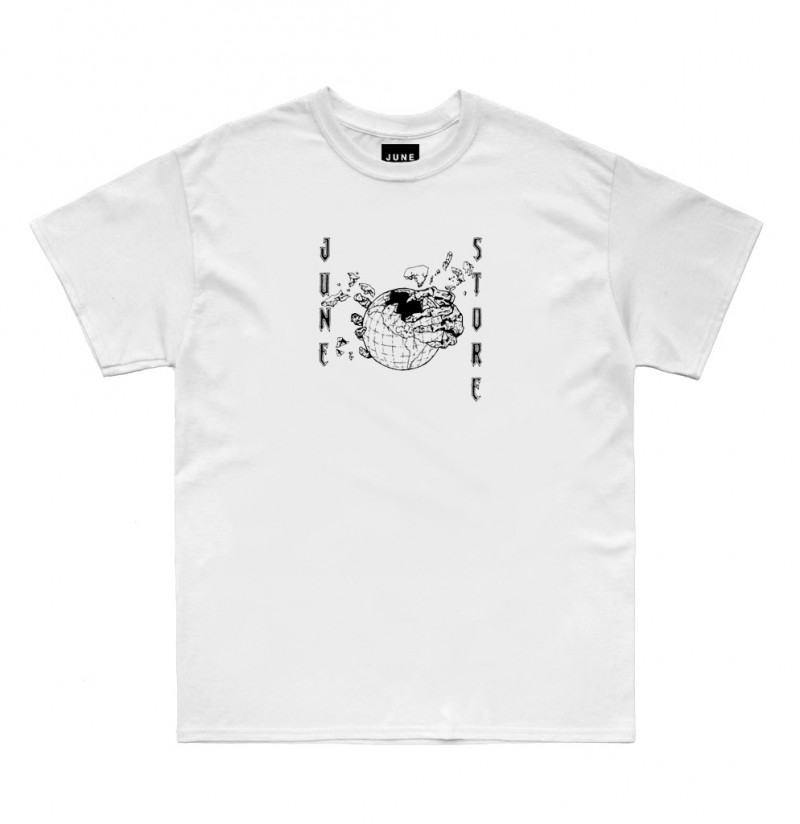 JUNE STORE - HOLLOW EARTH TEE -WHITE / BLACK