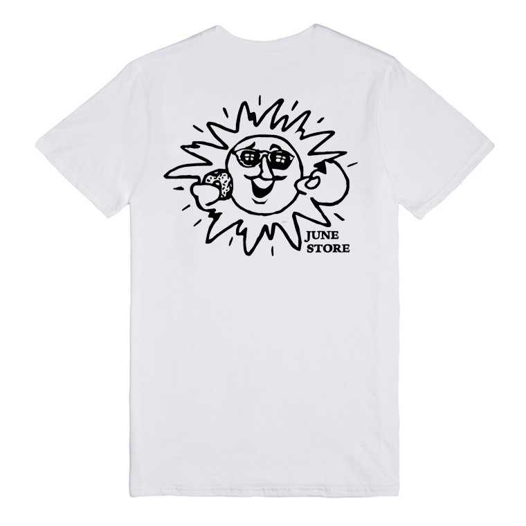 JUNE STORE - SUN MAN TEE - WHITE / BLACK