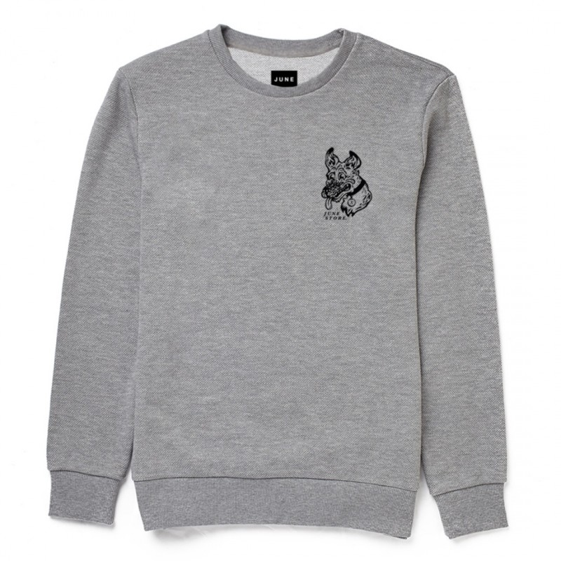 JUNE STORE - DOEG CREW NECK - GREY / BLACK