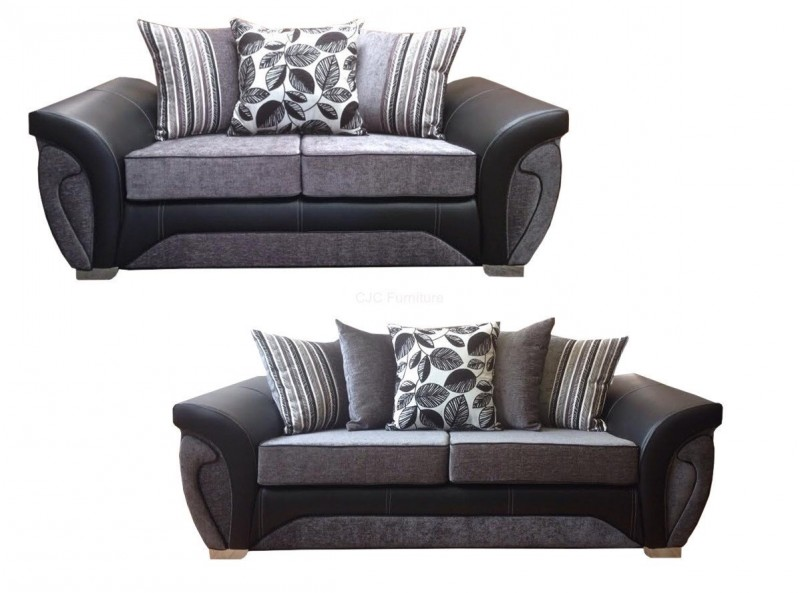 Vegas 3 2 Sofa Black Grey Msd