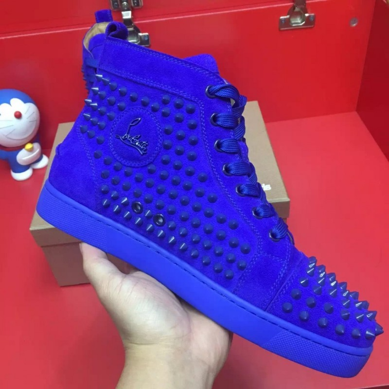 outlet store 2132f 0282e SUEDE BLUE LOUBOUTIN HIGH TOP SPIKE