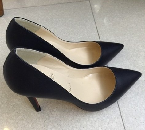 new style a0848 58551 BLACK LEATHER LOUBOUTIN SO KATE HEELS
