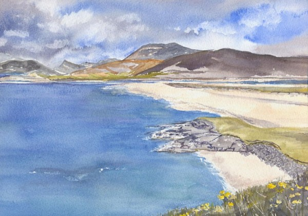Watercolour of Seilebost - one of the most beautiful Hebridean beaches