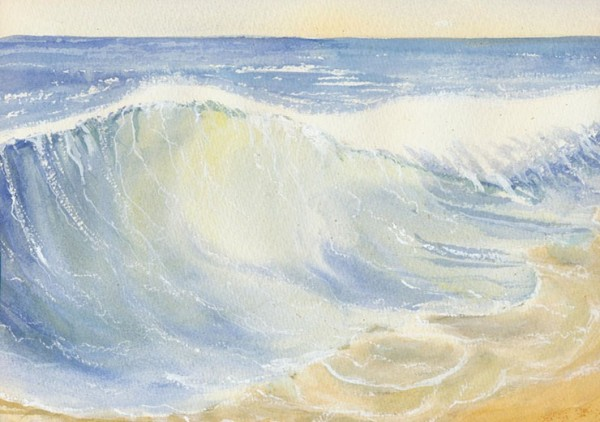 Dramatic watercolour capturing light through the water as a wave crashes onto the beach