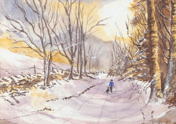 Winter landscape - evocative watercolour of bracing winter walks