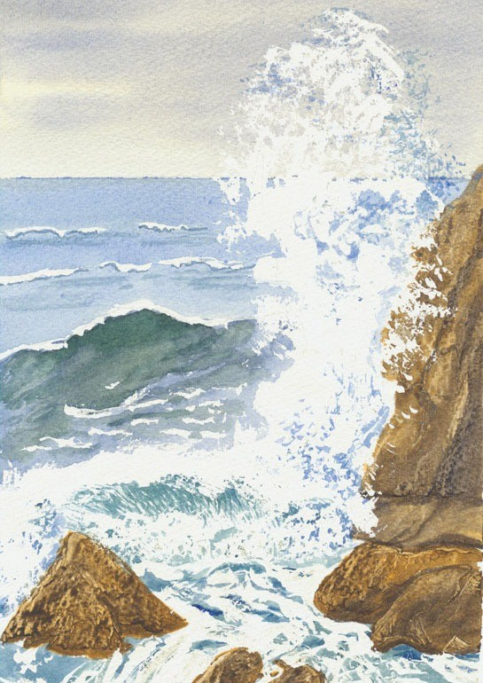 Dramatic watercolour of waves crashing on the rocks