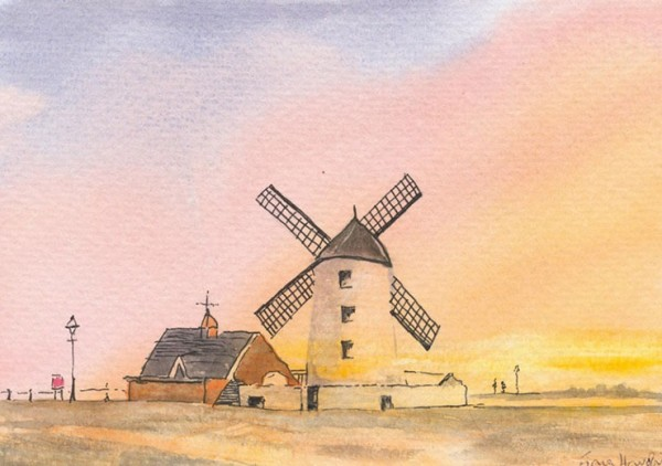 Watercolour which catches glorious evening light behind Lytham's windmill
