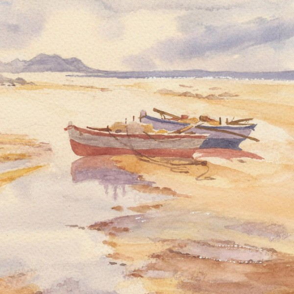 Inspirational watercolour of rowing boats resting on the sand