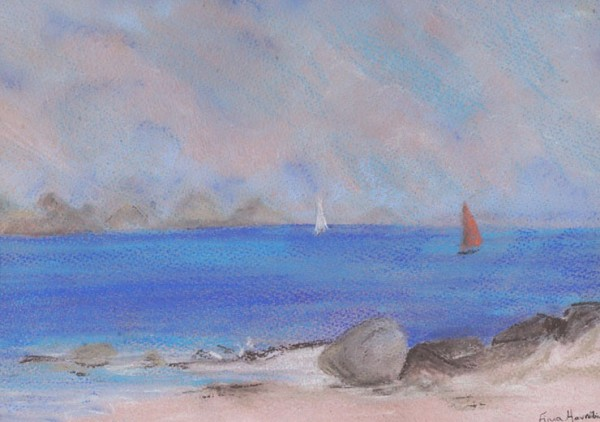 Pastel drawing capturing the hazy heat of sailing in high summer