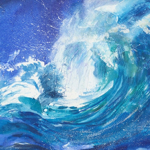 Superbly dramatic watercolour representation of turbulent seas