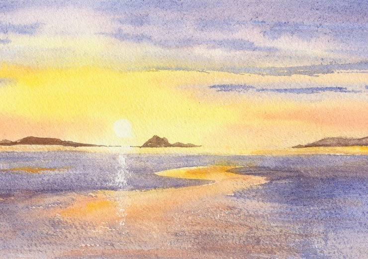 Inspirational watercolour of the sun setting over the Atlantic Ocean