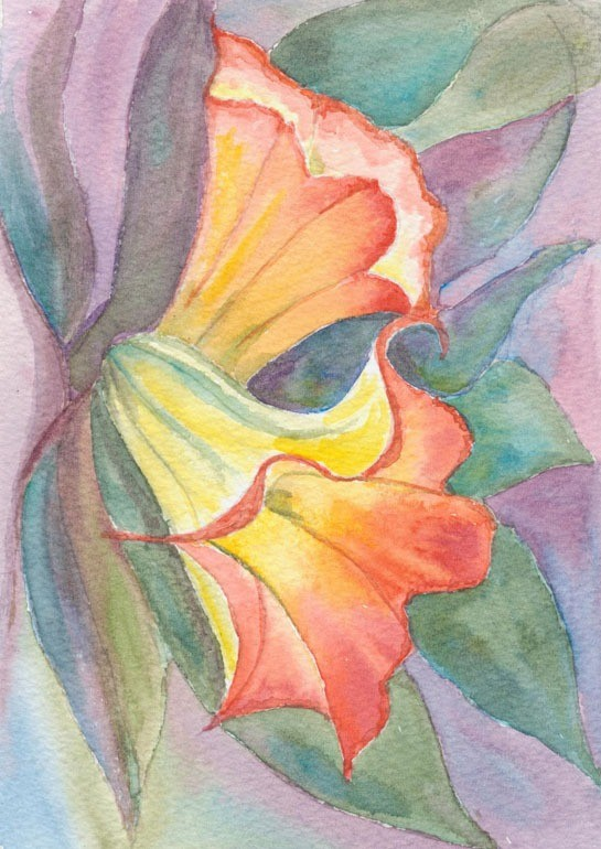 Intensely coloured heads of lilies - watercolour