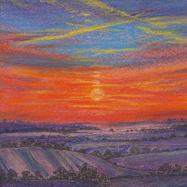 Intensely shaded pastel of the sun setting over the downs