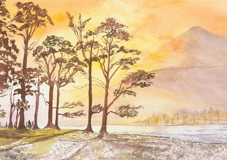 Watercolour capturing the early morning light over Buttermere