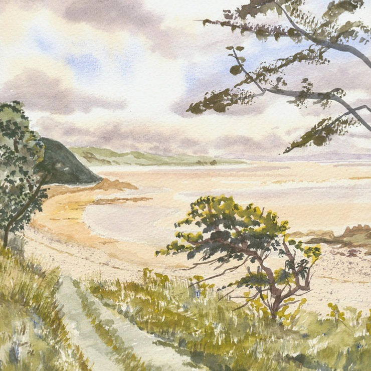 Pictorial watercolour of Morecambe Bay in the late spring
