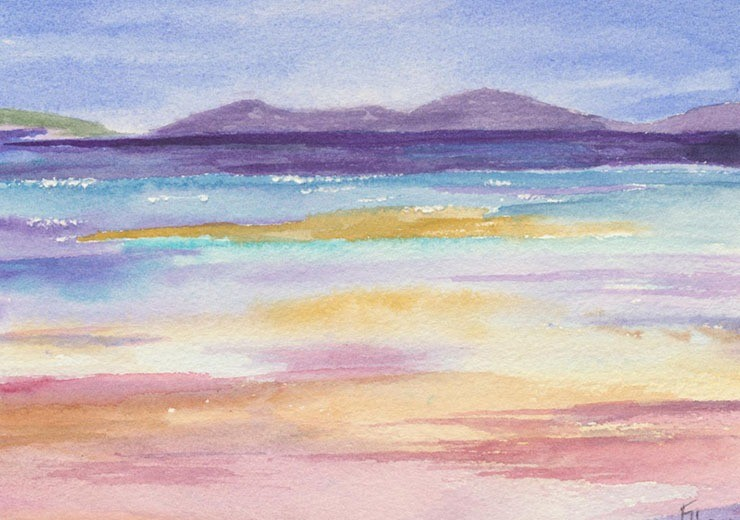 Impressionistic watercolour of the Hebriden beaches - watercolour