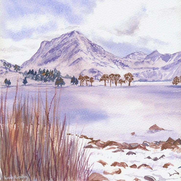 Evocative watercolour of Buttermere in its winter dress