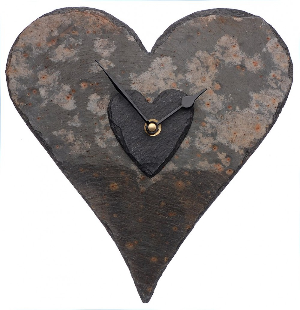 Cornish slate large heart clock