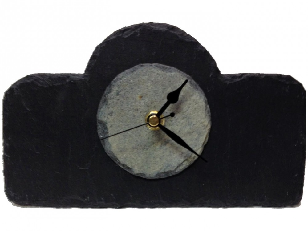 Natural slate mantel clock