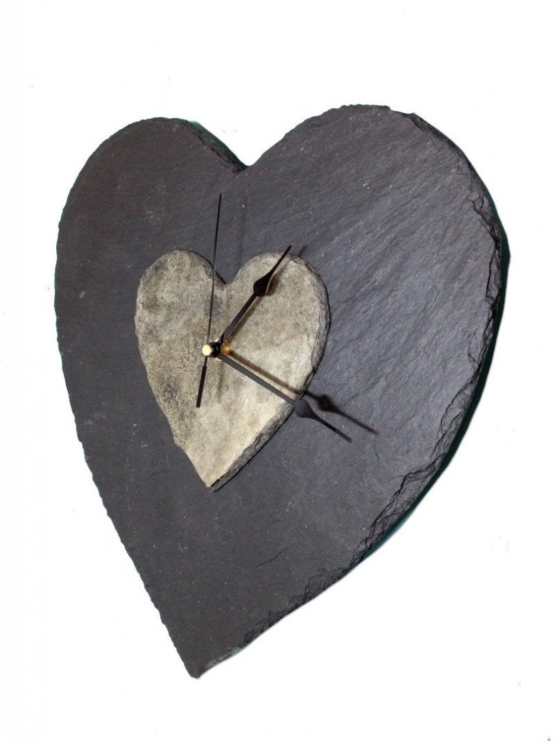 XL Slate heart clock