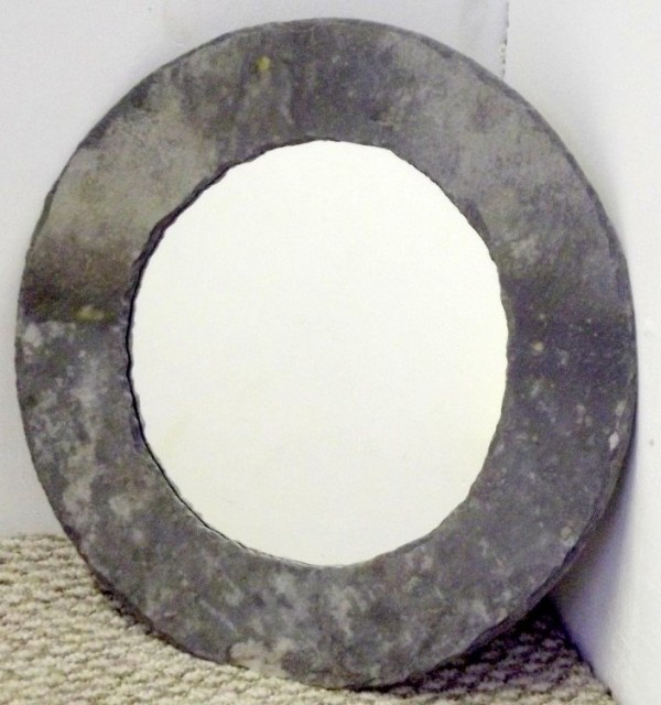 Cornish slate round mirror